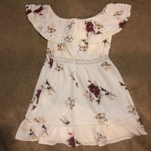 Off the shoulder floral white summer dress